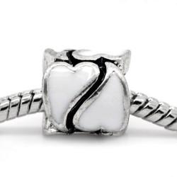 Métal Coeur émail blanc style Pandora - à l'unité