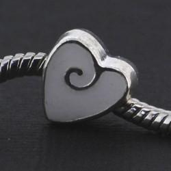 Métal petit Coeur émail blanc style Pandora - à l'unité
