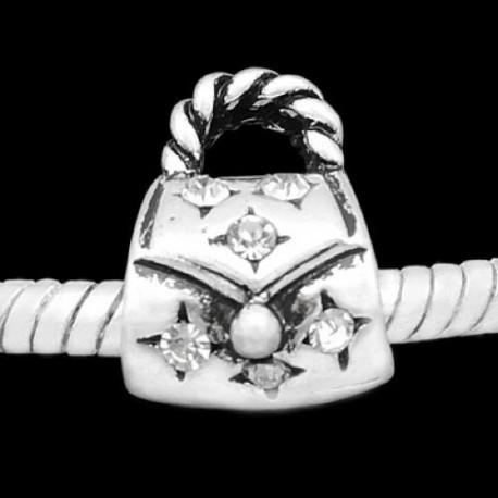 Métal Sac à main strass blanc style Pandora - à l'unité