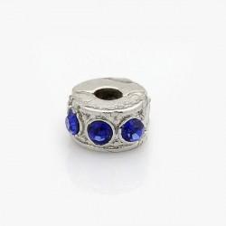 Métal perle bracelet pince strass bleu foncé style Pandora - à l'unité