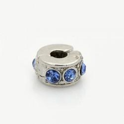 Métal perle bracelet pince strass bleu clair style Pandora - à l'unité