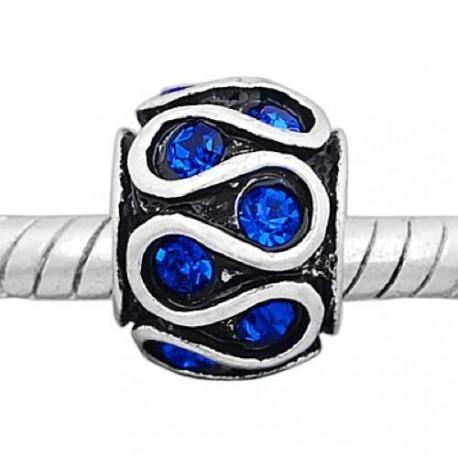 Métal Serpent strass bleu style Pandora - à l'unité