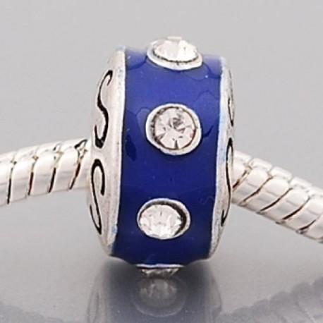 Métal Anneau bleu strass blanc style Pandora - à l'unité