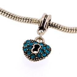 Métal Coeur strass turquoise style Pandora - à l'unité
