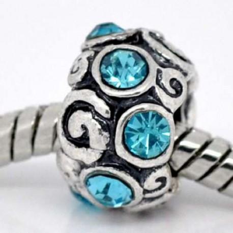Métal Anneau strass turquoise clair style Pandora - à l'unité
