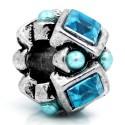 Métal Perle scupltée strass turquoise style Pandora - à l'unité