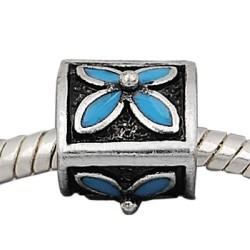 Métal Trèfle turquoise style Pandora - à l'unité