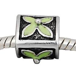 Métal Trèfle vert style Pandora - à l'unité
