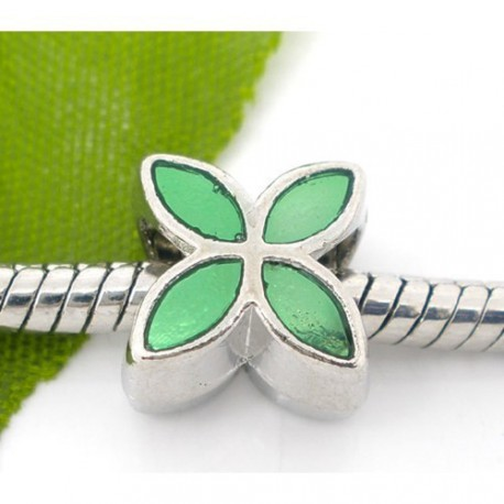 Métal Fleur émail verte style Pandora - à l'unité
