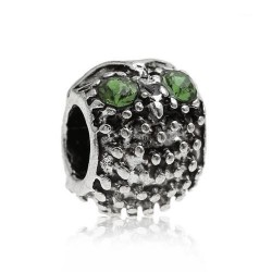 Métal Hibou strass vert style Pandora - à l'unité