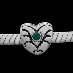 Métal Coeur strass vert style Pandora - à l'unité