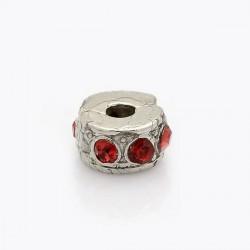 Métal perle bracelet pince strass rouge style Pandora - à l'unité
