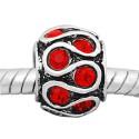 Métal Serpent strass rouge style Pandora - à l'unité