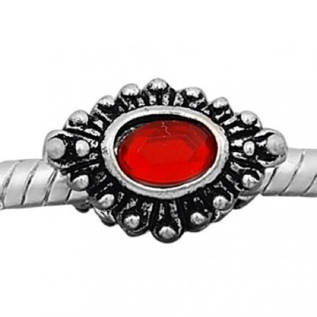 Métal Oeil strass rouge style Pandora - à l'unité