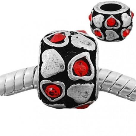 Métal petits coeurs strass rouge style Pandora - à l'unité
