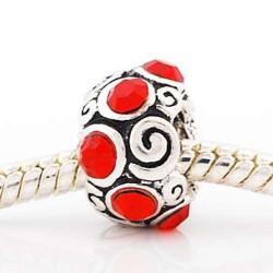 Métal Anneau strass rouge style Pandora - à l'unité