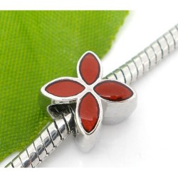 Métal Fleur émail rouge style Pandora - à l'unité