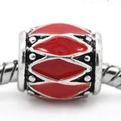 Métal Losange émail rouge style Pandora - à l'unité