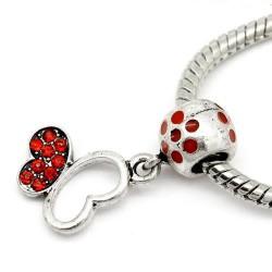 Métal breloque Papillon strass rouge style Pandora - à l'unité