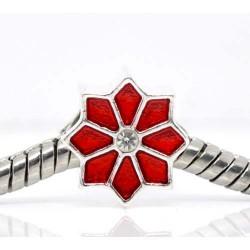 Métal Poinsetta émail rouge et strass blanc style Pandora - à l'unité