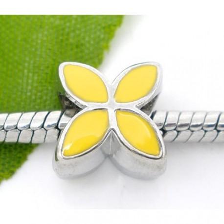 Métal Fleur émail jaune style Pandora - à l'unité