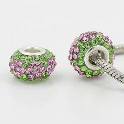 Métal Shamballah Verte avec fleur rose style Pandora - à l'unité
