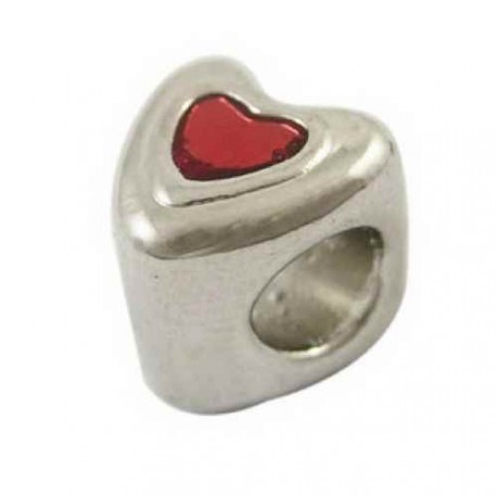 Métal perle coeur rouge style Pandora - à l'unité
