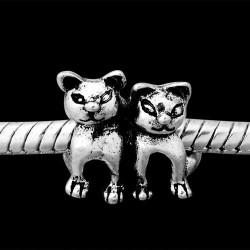 Métal Couple chats style Pandora - à l'unité