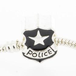 Métal Police insigne noire style Pandora - à l'unité