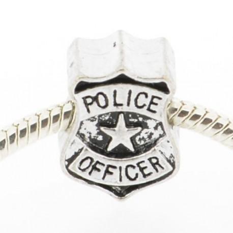 Métal Police officier insigne noire style Pandora - à l'unité
