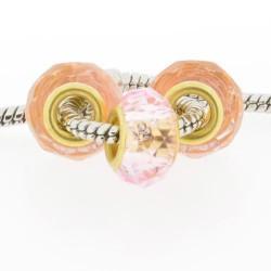 Perle de verre rose à facettes style Pandora - à l'unité