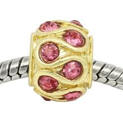 Métal Serpent strass rose style Pandora, dorée - à l'unité