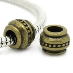Métal Perle aux tirets style Pandora, bronze - à l'unité