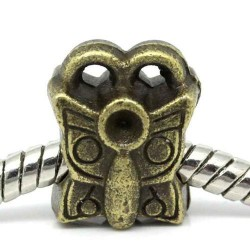 Métal Papillon style Pandora, bronze antique - à l'unité