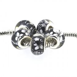 Perle en résine noire fleurs blanches style Pandora - à l'unité