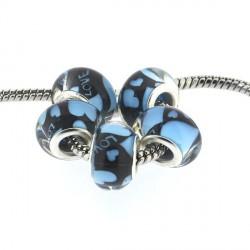 Perle en résine Love turquoise style Pandora - à l'unité