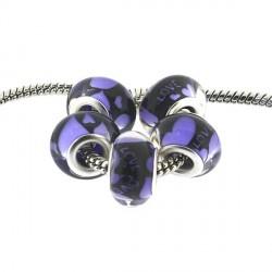 Perle en résine Love violette style Pandora - à l'unité