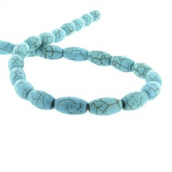 Perle Turquoise, ovale 15 x 5 mm