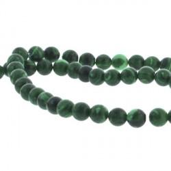 Perle de verre imitation malachite, 4 mm