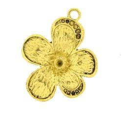 Pendentif breloque en métal Grande Fleur, doré