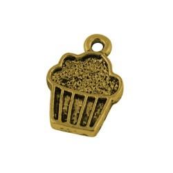 Pendentif breloque en métal cupcake, dorée