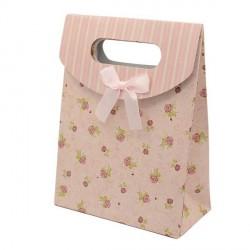Sac cadeau cartonné petites fleurs roses 16,5 x 12,5 cm