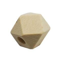 Perle en bois brut hexagoanle 12 mm