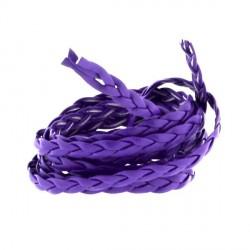 Cordon tressé plat simili cuir violet, 5 mm ø - au mètre