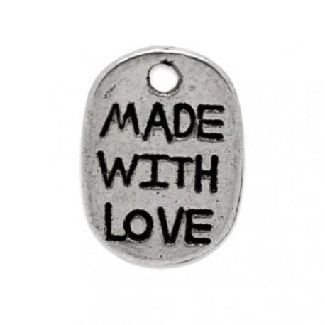 Breloque en métal Made with Love, argenté