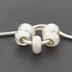 Perle de verre blanche Goutte d'eau style Pandora - à l'unité