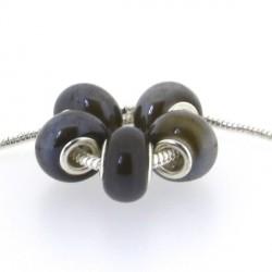 Perle porcelaine vernie Taupe style Pandora - à l'unité