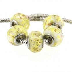 Perle de verre jaune paillettes dorées style Pandora - à l'unité