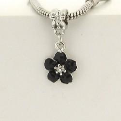 Métal pendentif Fleur émail noir style Pandora - à l'unité