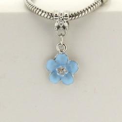 Métal pendentif Fleur émail turquoise style Pandora - à l'unité
